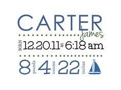 Birth Announcement Print  Personalized Custom Nursery by cocostine, $15.00