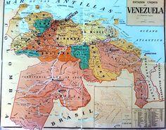 Mapa de los Estados Unidos de Venezuela.