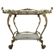 Brass Baroque Style Bar / Tea Cart