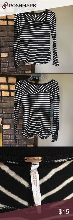 LAST DAY!✌️Free People stripe Hard Candy Henley✌️ Free People black and white stripe Hard Candy Henley. ***DAMAGED*** Most of the studs on the crochet cuffs are missing or loose. Fraying at side hems, bottom hem and neck are cut. (See pics for all). Not sure how much is factory, but I know the studs should be there. No stains. I'm open to reasonable offers and give bundle discounts! 😊☮️💜✌️ Free People Tops