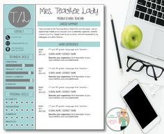 Teacher Resume Template  Chalkboards  Apples  Modern Resume