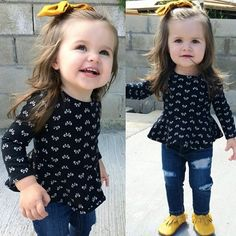 Toddler Baby Kid Girl Dress Top T-shirt+Denim Jeans Ripped Pants Cloth – Trending Accessories Source by poichichevaitoa Jeans Dresses Kids Girl, Little Girl Outfits, Little Girl Fashion, Fashion Kids, Toddler Fashion, Toddler Outfits, Outfits Niños, Baby Outfits, Baby Kind