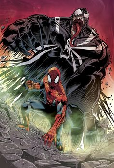 Spiderman vs Venom by Alzir Alves Dc Comics Superheroes, Marvel Dc Comics, Anime Comics, Comic Movies, Comic Books Art, Comic Art, Spectacular Spider Man, Amazing Spider, Marvel Art