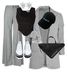 A fashion look from September 2017 featuring corset style tops, blazer jacket and grey trousers. Browse and shop related looks. Style Outfits, Kpop Fashion Outfits, Edgy Outfits, Mode Outfits, Cute Casual Outfits, Pretty Outfits, Mode Dope, Polyvore Outfits, Polyvore Fashion