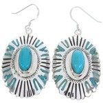 Sterling Silver Jewelry Turquoise Southwest Hook Earrings MW68729