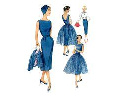 1950s Dress Jacket and Overskirt Pattern Easy by PrettyPatternShop