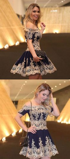 off the shoulder homecoming dresses, navy blue homecoming dresses, vintage homecoming dresses, short homecoming dresses, appliques homecoming dresses, short sleeves homecoming dress