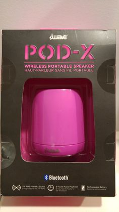 Pink Mini Pod-X Bluetooth Portable Speaker. Small Size, Big Sound. Wireless, rechargeable and portable.