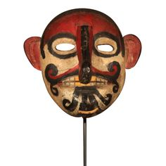Dayak Carved & Painted Wood Mask from Borneo Outsider Art, Borneo, Painted Wood, Tribal Art, Mask Design, Asian Art, Painting On Wood, Cool Furniture, Folk Art
