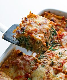 A light and healthy mushroom spinach lasagna thats quick and easy to make. This spinach lasagna has ricotta, whole wheat noodles, and tomato basil sauce.