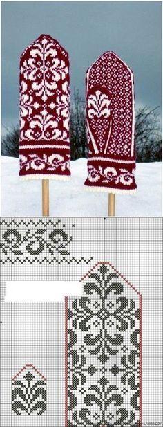 Knitting Charts, Loom Knitting, Knitting Stitches, Knitting Socks, Knitting Patterns Free, Baby Knitting, Knitted Mittens Pattern, Crochet Mittens, Knitted Gloves