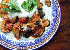 Afghan-style aubergine and yoghurt « Bangers & Mash