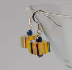Candy cane glass bead and silver earrings - navy, yellow, orange £10.00