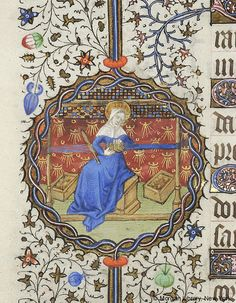 Medieval Manuscript Images, Pierpont Morgan Library, Book of hours (MS MS fol. ch: I think I pinned this because she appears to be card weaving. Card Weaving, Tablet Weaving, Weaving Art, Medieval Manuscript, Medieval Art, Renaissance Art, Illuminated Letters, Illuminated Manuscript, Early Middle Ages