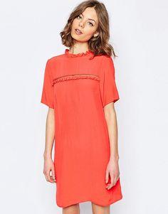 ASOS | ASOS Shift Dress With Frill Detail at ASOS