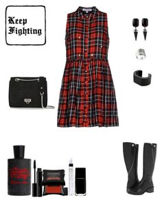 """Tuesday In Elizabeth and James (AKA: Fighting Plaid)"" by sereneowl ❤ liked on Polyvore featuring Elizabeth and James, Maje, Pamela Love, NOVICA, Illamasqua, Juliette Has A Gun, women's clothing, women, female and woman"