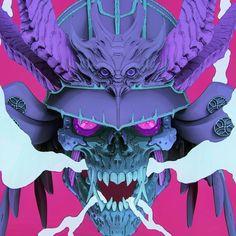 """Samurai Dragon Skull"" by Furio Tedeschi @ ArtStation ☠️ Mascara Oni, Japanese Demon Mask, Oni Mask, Samurai Artwork, Japon Illustration, Japanese Tattoo Art, Demon Art, Samurai Tattoo, Drawing Projects"