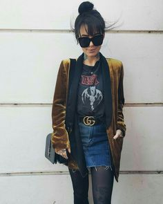S mum co-boss sammi. Fall Outfits, Casual Outfits, Cute Outfits, Fashion Outfits, Womens Fashion, Dress Casual, Band Tee Outfits, Gucci Gang, Estilo Grunge