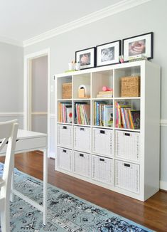 How a few cheap & easy Ikea finds turned this space into a hyper-functional, hardworking homework room for two grade schoolers. Easy Home Decor, Cheap Home Decor, Ikea Cubes, Living Room Designs, Bedroom Designs, Shelving, Garage Storage, Playroom Storage, Ikea 12 Cube Storage