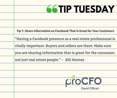 Share information on #Facebook to get more customers. #TipTuesday from David Officen #TipoftheDay #proCFOPerth #DavidOfficen #virtualCFO #BusinessImprovementAdvice #TuesdayPost #business #businesstips #B2B