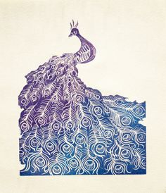 Peacock lino print in graduated colours of blue and lilac.
