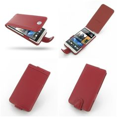 PDair Leather Case for HTC One Max 803s - Flip Type (Red)