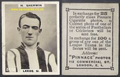 Harry Sherwin, rookie card, Leeds United promotion side celebrated here with this late edition rare Pinnace high number. SO EASY to BUY HERE (postage included):  https://www.paypal.me/rarecards/34.38 #Leeds United 2438 Harry Sherwin Sunderland 1923 Pinnace K high number frameline 1923 Godfrey Phillips football rookie card soccercard cigare#sunderland fc#leeds united#Harry Sherwin#Harold Sherwin#2438#Football Cards#cigarette card#Godfrey Phillips