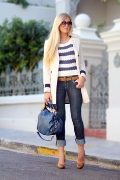 Stripes, cropped jeans, off white trench, nude heals. Love this look
