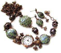 Lampwork set 'Dragon's skin' with handmade lampwork beads made by Inna Kirkevich