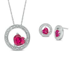 Zales Cushion-Cut Lab-Created Ruby Solitaire Swirl Pendant and Stud Earrings Set in Sterling Silver 3BhZFlPSv