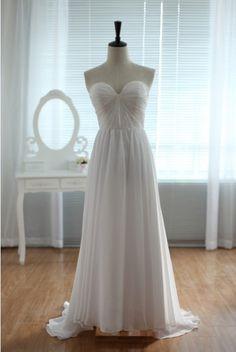Lace Chiffon Wedding Dress/Bridesmaid Dress/Prom Dress in strapless sweetheart neckline