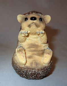 Hedgehog Figurine Baby Sitting Up Hedgie Poly Stone Sculpture New in Box