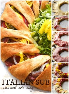 An Italian Sub Crescent Roll Ring is packed full of ham, salami, capicola, and provolone cheese all tucked inside golden crescent rolls. Appetizers For Party, Appetizer Recipes, Dinner Recipes, Yummy Appetizers, Crescent Roll Ring Recipes, Cresent Roll Appetizers, Rolled Sandwiches, Italian Sub, Easy Slime Recipe