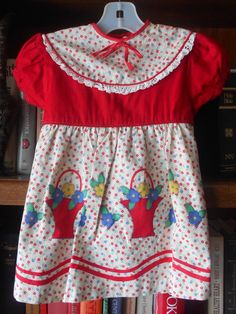 1950's Little Girls' Flower Basket Border Print Dress ~ RED Blue Ivory ~ Size 3/4 ~ Deadstock NEW w/o Tags by VMaleDetroitVintage on Etsy