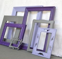 Purples, Greys Gray  Painted Frames Set of 7 - Upcycled Frames Girls Modern Elegant Nursery decor