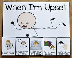"Free Behavior Supports! This printable behavior support is a choice card for students with Autism or other visual learners. The ""When I'm Upset,"" card offers students calming choices to be done in a ""quiet area,"" when upset or calming down from a tantrum.  Download at:  http://www.filefolderheaven.com/autism-tasks/free-behavior-supports/when-im-upset-card"