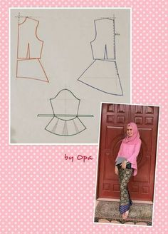 Peplum blouse Dress Sewing Patterns, Blouse Patterns, Clothing Patterns, Sewing Class, Love Sewing, Kebaya Peplum, Peplum Blouse, Sewing Clothes, Diy Clothes