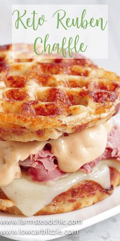 The perfect grilled, buttery Chaffle bread, shaved corn beef, juicy sauerkraut, melty Swiss cheese and Thousand Island dressing make this Keto Reuben Chaffle taste better than the real thing without all the harmful additives and questionable ingredients. Low Carb Keto, Low Carb Recipes, Diet Recipes, Cooking Recipes, Healthy Recipes, Recipes Dinner, Sausage Recipes, Steak Recipes, Quick Recipes
