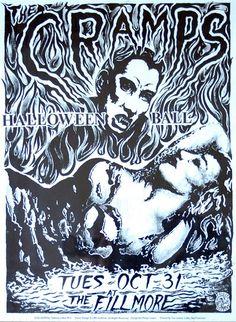Cramps Original Concert Poster Halloween Ball Fillmore Green by Phillip Cooper Pop Posters, Band Posters, Concert Posters, Music Posters, Metal Font, Horror Font, Punk Poster, Halloween Ball, Music Flyer