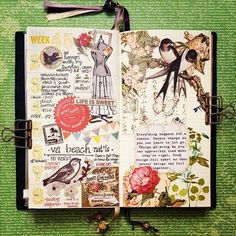 an open notebook, pages decorated with cutouts, printed and hand-writen text, craft ideas, green background