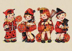Halloween Witch Children Repro Greeting Card frm Vintage Scrap   eBay
