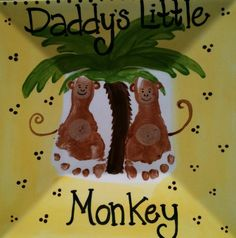 "Footprints for ""Daddy's Little Monkey"" keepsake plate"
