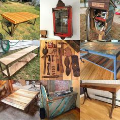 """My """"best 9"""" of 2015 apparently. I'm completely not surprised that it's 78% furniture. Still some of my favorite work of the year for certain. #make #maker #upcycle #upcycled #upcycledfurniture #reclaim #reclaimed #reclaimedwood #furnituremaker #industrial #industrialfurniture #rustic #handmade #beaconny #hudsonvalley #hvmac #diy #vintage #oldtools by keithdecent"""