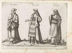 Bartolomeo Grassi | Drie vrouwen, gekleed volgens de mode van Ischia, ca. 1580, Bartolomeo Grassi, in or before 1585 | Prent nr. 19 uit album 'Dei veri ritratti degl'habiti di tvtte le parti del mondo intagliati in rame per opra di Bartolomeo Grassi', 1585.