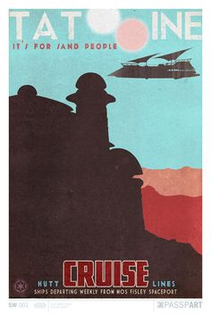 Star Wars Tatooine Travel Poster 12 x 18 by PasspArt on Etsy