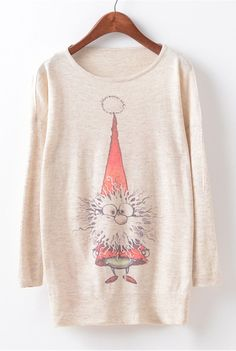 A knit sweater with cartoon graphic, round neckline, long sleeve and pullover design. More collection at OASAP.com