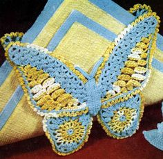 Butterfly Napkin Holder crochet pattern from Fair, Bazaar and Gift Crocheting, originally published by Lily Mills Company, Book 63.