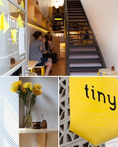 Tiny café in Collingwood owns its space and brand personality associated with being in a small space. The yellow pops open the space and add to their quirky charm. #RetailDesign #SmallSpace