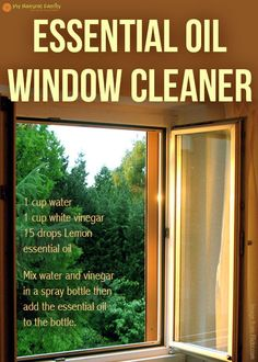 The Best DIY doTERRA Cleaning Recipes Essential oil window cleaner Essential Oil Cleaner, Essential Oils Cleaning, Essential Oil Uses, Doterra Essential Oils, Safe Cleaning Products, Cleaning Recipes, Cleaning Hacks, Cleaning Supplies, Window Cleaner Recipes