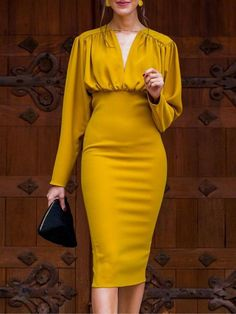 Ruched Design Long Sleeve Midi Dress trendiest dresses for any occasions, including wedding gowns, special event dresses, accessories and women clothing. Trend Fashion, Womens Fashion, Hipster Fashion, 90s Fashion, Fashion Rings, Fashion Online, Dress Up, Bodycon Dress, Prom Dress
